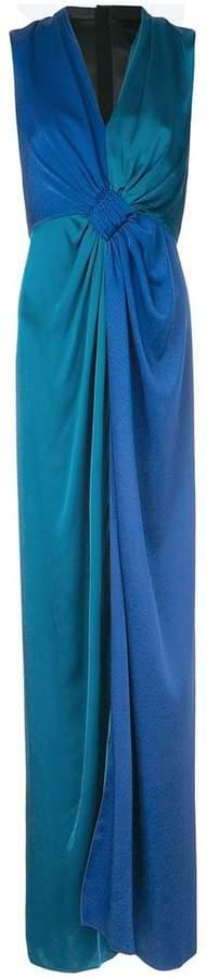 Paule Ka contrast woven draped dress