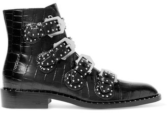 Givenchy - Studded Ankle Boots In Black Croc-effect Glossed-leather - IT35 $1,450 thestylecure.com