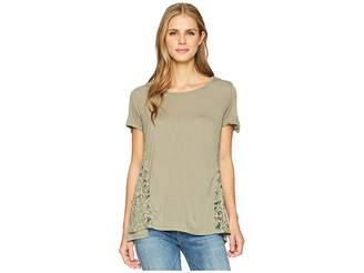 Tribal Knit Jersey Short Sleeve Top with Lace Trim Women's Clothing