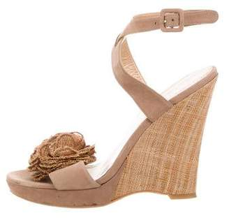 Stuart Weitzman Ankle Strap Ruffle-Trimmed Wedges