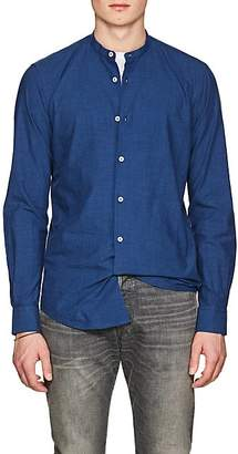Barneys New York MEN'S BAND-COLLAR COTTON SHIRT - BLUE SIZE S