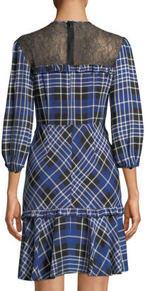 Donna Morgan Lace Illusion Plaid A-Line Dress