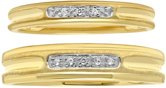 10K Gold Two-Tone Diamond Accent Duo Ring Set