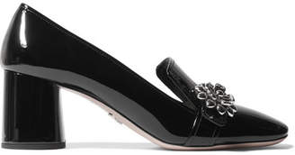 Prada - Embellished Patent-leather Pumps - Black $780 thestylecure.com