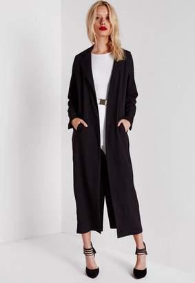 Long Sleeve Maxi Duster Coat Black $48 thestylecure.com