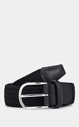 Barneys New York Men's Leather-Trimmed Stretch Belt - Black