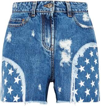 Faith Connexion Star Print Denim Shorts