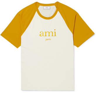 Ami Embroidered Two-Tone Jersey T-Shirt