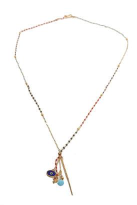 Chan Luu Aqua Multi Gold Dagger Pendant Necklace