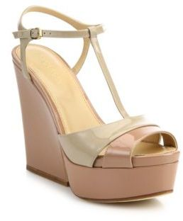Sergio Rossi Edwige Patent Leather T-Strap Platform Wedge Sandals