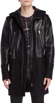 Patrizia Pepe Black Mixed Media Faux Leather & Wool Coat