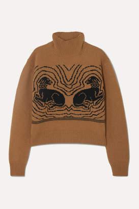 ALEXACHUNG Cropped Intarsia Wool Turtleneck Sweater - Camel