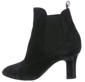 Louis Vuitton Suede Round-Toe Ankle Boots