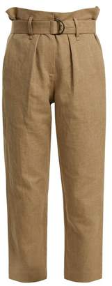Brunello Cucinelli Paperbag Waist Straight Leg Cropped Trousers - Womens - Beige