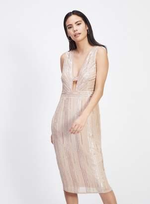Miss Selfridge Nude Beaded Midi Dress