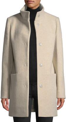 Cinzia Rocca Snap-Button Wool-Blend Walking Coat, Beige
