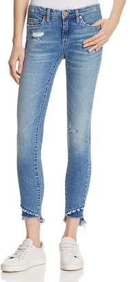 BLANKNYC Staggered Step Hem Distressed Skinny Ankle Jeans in App Happy $98 thestylecure.com