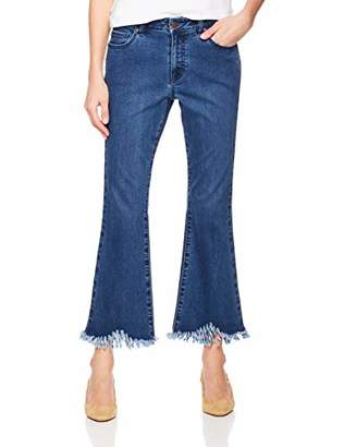 PD Peppered Denim Women's Skinny-Fit High-Waist Frayed Raw Hem Tassels Jean