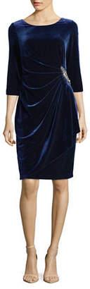 Alex Evenings Gathered Velvet Dress