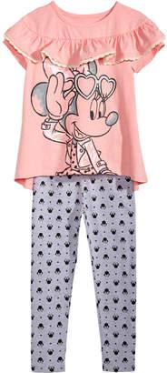 Disney Toddler Girls 2-Pc. Minnie Mouse Ruffle-Trim T-Shirt & Leggings Set