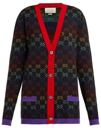 Gucci Gg Jacquard Wool Cardigan - Womens - Black Multi