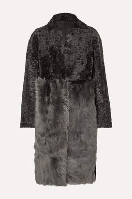 Karl Donoghue Paneled Shearling Coat - Gray