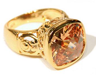 Teong Kay Big Square Brown Citrine Ring
