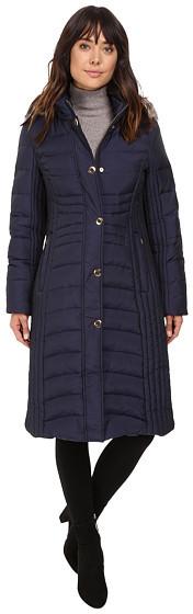 Anne KleinAnne Klein Quilted Jacket with Fur Collar