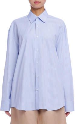 Jil Sander (ジル サンダー) - Jil Sander ストライプ ドロップショルダー 長袖チュニックシャツ ブルー 36