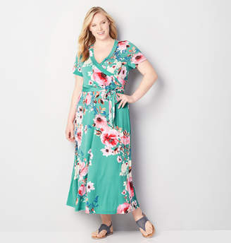 Avenue Floral Faux Wrap Maxi Dress