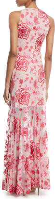 Neiman Marcus Parker Black Ava Floral Sleeveless Gown