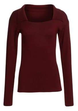 Jacquemus Scoopneck Spread Collar Rib-Knit Trim Wool Sweater