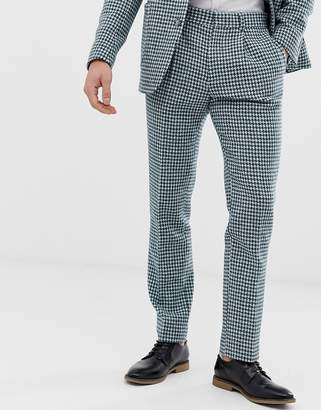 Asos Design DESIGN slim Harris Tweed suit pants in teal and white houndstooth
