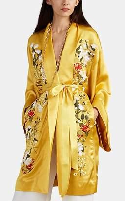Alice Archer Women's Floral-Embroidered Silk Kimono - Gold