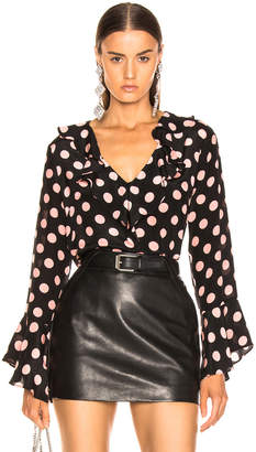 Rixo Jane Maxi Spot Top in Peach & Black   FWRD
