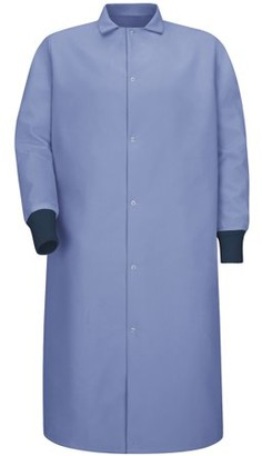 Red Kap Unisex Gripper-Front Spun Polyester Pocketless Butcher Coat with Knit Cuffs