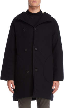 Transit Uomo Black Hooded Wool Parka