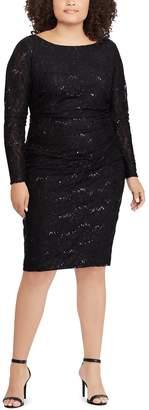 Chaps Plus Size Sequin Lace Sheath Dress