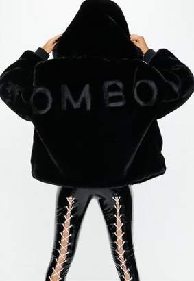 Missguided Fanny Lyckman X Black Tomboy Oversized Faux Fur Hooded Coat