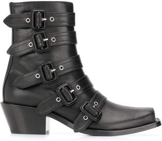 Burberry Buckled Peep-toe Ankle Boots