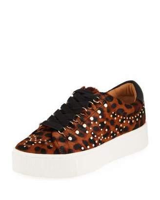 Joie Handan Studded Leopard-Print Platform Sneakers