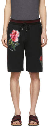 Dolce & Gabbana Black Floral Applique Shorts
