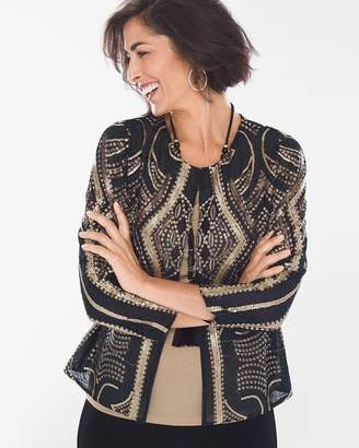 Travelers Collection Black and Gold Sequin Jacket