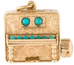 14K Turquoise Piano Music Box Pendant