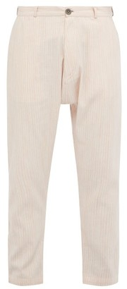 Marrakshi Life - Striped Cotton Blend Tapered Trousers - Mens - Pink