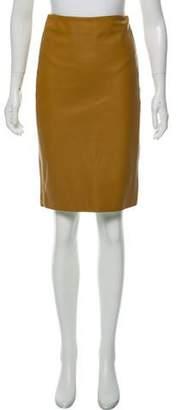 The Row Leather Knee-Length Skirt