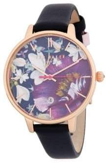 Ted Baker Floral Stainless Steel Leather Strap Watch