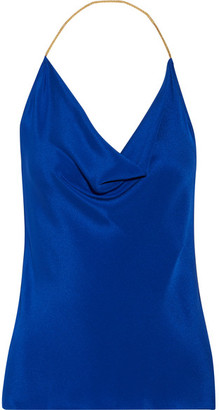 Cushnie et Ochs - Open-back Chain-trimmed Silk Crepe De Chine Halterneck Top - Bright blue $595 thestylecure.com