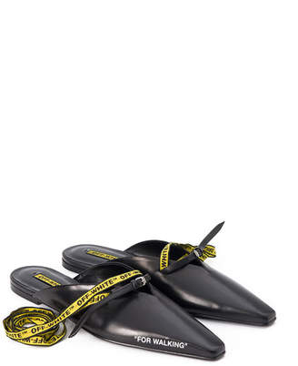 For Walking Leather Mule Slide Flat, Black