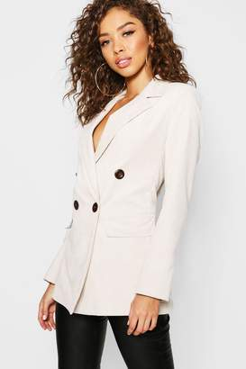 boohoo Cord Double Breasted Blazer